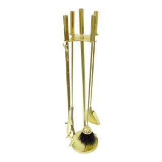 Vintage Mid Century Modern Modernist English Solid Brass Fireplace Tool Set For Sale