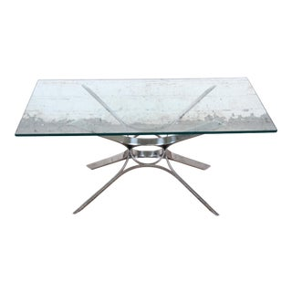 Roger Sprunger for Dunbar Sculptural Chrome and Glass Cocktail Table, 1970s For Sale