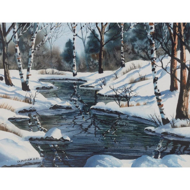"Diane Phalen ""Pennsylvania Winter Landscape"" Original Watercolor c.1987 Beautiful Winter landscape by Pennsylvania artist..."