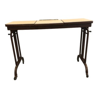 Vintage Industrial Rolling Adjustable Hospital Bed Table For Sale
