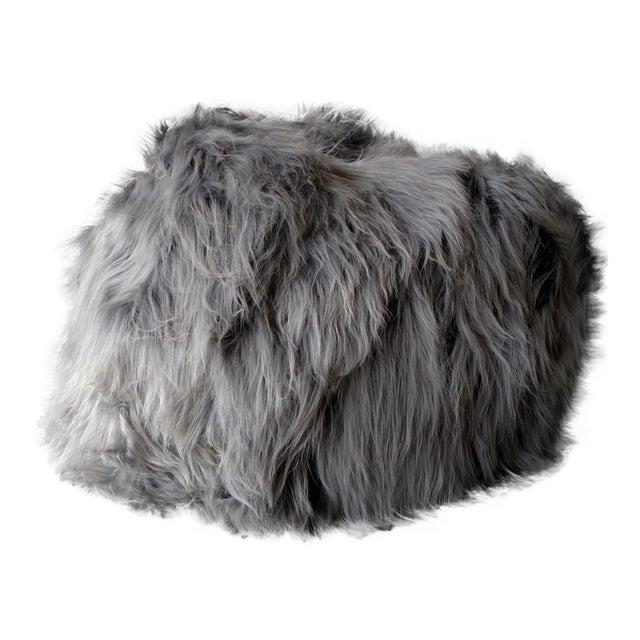 Moon Grey Sheepskin Bean Bag - Image 1 of 3