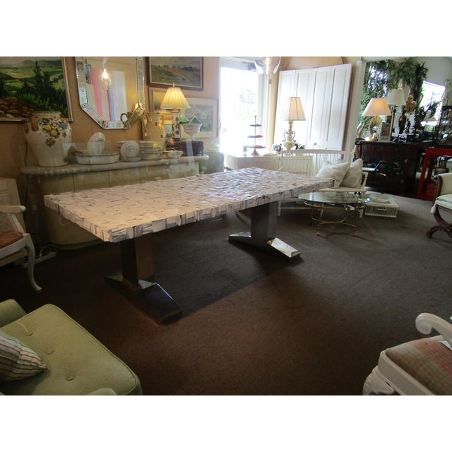 Chrome Raw Wood Block & Chrome Pedestal Dining Table For Sale - Image 7 of 8
