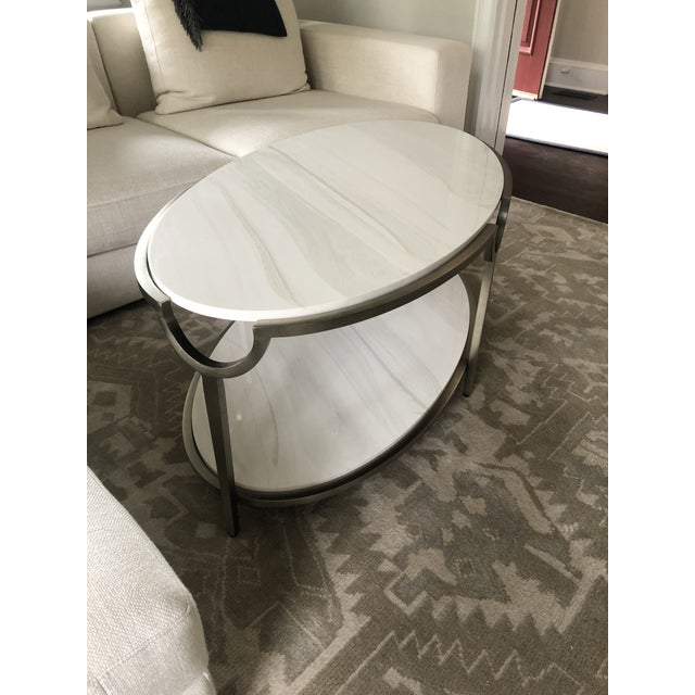 2010s Contemporary Oval Faux Marble and Steel Two Tier Coffee Table For Sale - Image 5 of 11