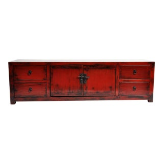 Red Lacquered Chinese Kwang Chest With Four Drawers
