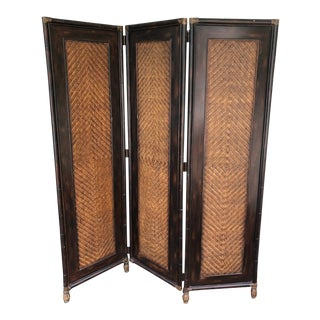 1980s Vintage Rattan Bamboo Folding Screen For Sale