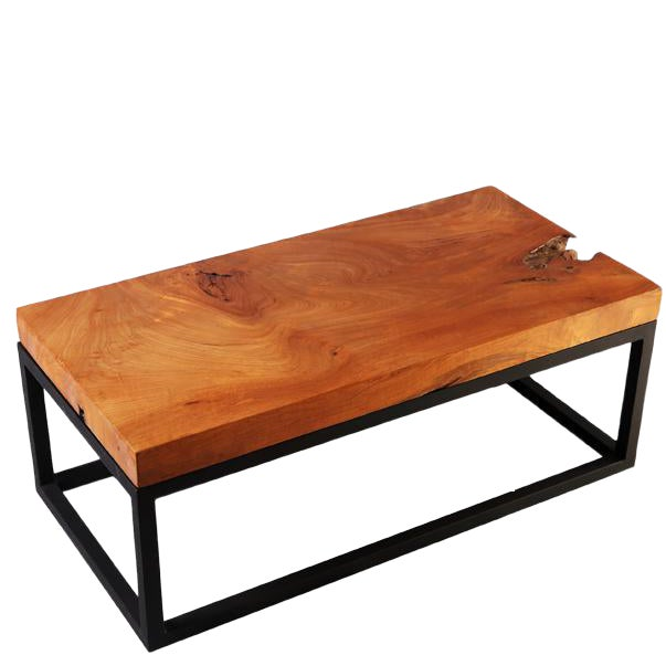 Rustic Solid Teak Top and Black Metal Base Coffee Table ...