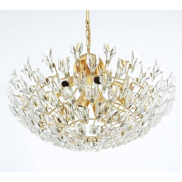 Brass Large Glass and Brass Chandelier by Stilkrone Italy , circa 1970 For Sale - Image 7 of 9