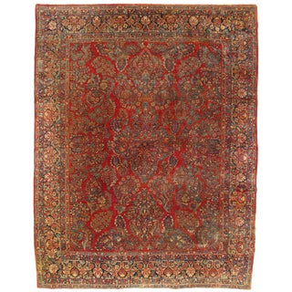 Early 20th Century Antique Persian Sarouk Rug - 8′9″ × 11′4″ For Sale