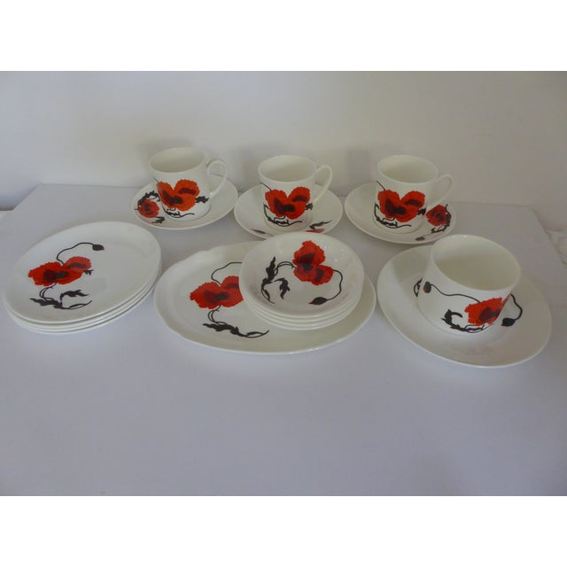 "Susie Cooper for Wedgewood ""Corn Poppy"" Luncheon Sets - Set of 17 For Sale - Image 9 of 9"