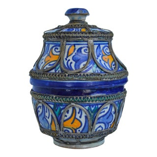 Engraved Moroccan Blue Lidded Bowl For Sale