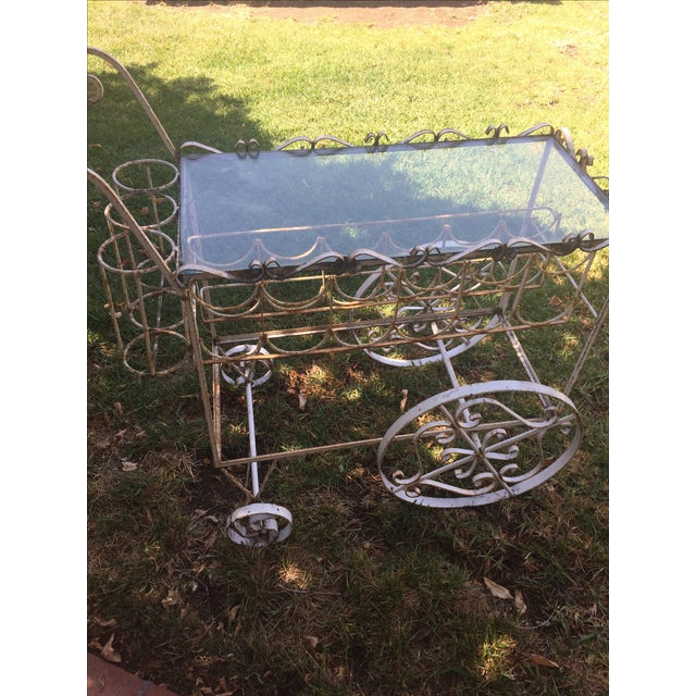 French Beverage Cart with Glass Top - Image 4 of 4
