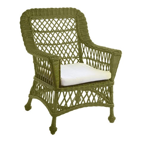 Kenneth Ludwig Chicago Montauk Green Rattan Chair For Sale