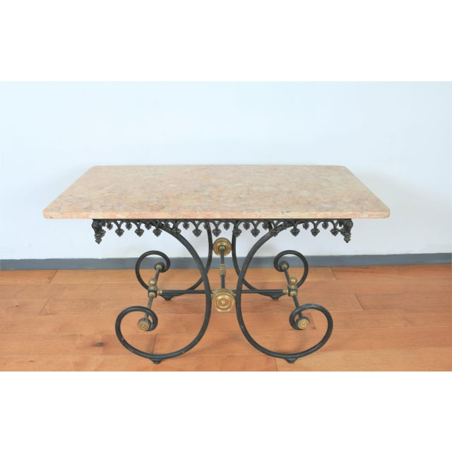 Metal Wrought Iron & Marble Pastry Table For Sale - Image 7 of 8
