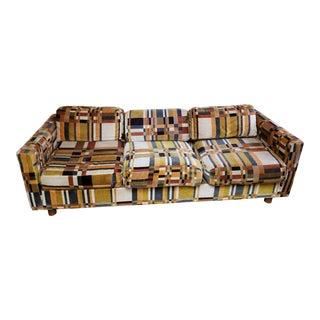 Mid-Century Brown Plaid Velour Sofa For Sale