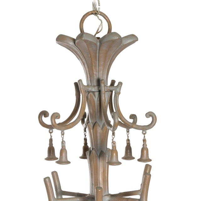 Serge Roche Style Plaster Chinoiserie Palm Chandelier - Image 3 of 7