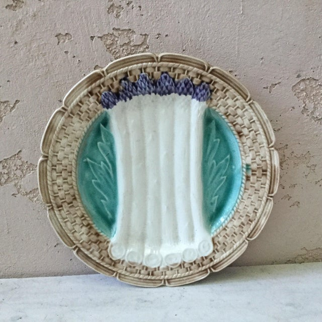 Teal 1920 French Majolica Asparagus Orchies Plate For Sale - Image 8 of 8