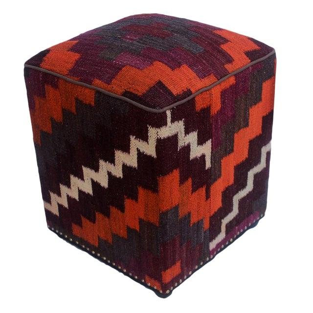 Arshs Dorian Purple/Orange Kilim Upholstered Handmade Ottoman For Sale