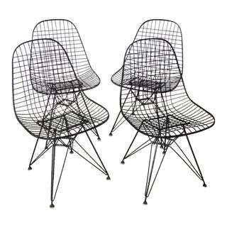 Set of Four Eames for Herman Miller DKR Wire Chairs on Eiffel Bases For Sale