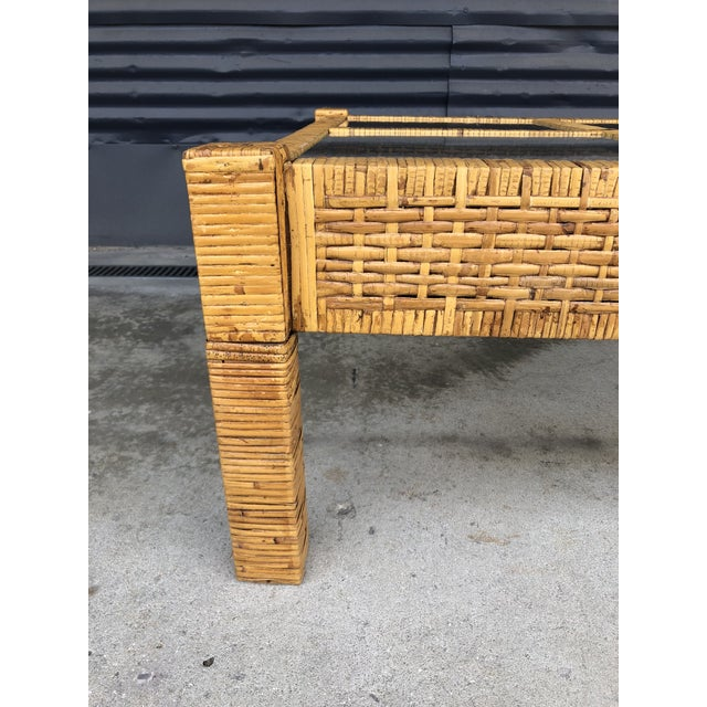 Glass Vintage Wrapped Rattan Billy Baldwin Style Coffee Table For Sale - Image 7 of 13