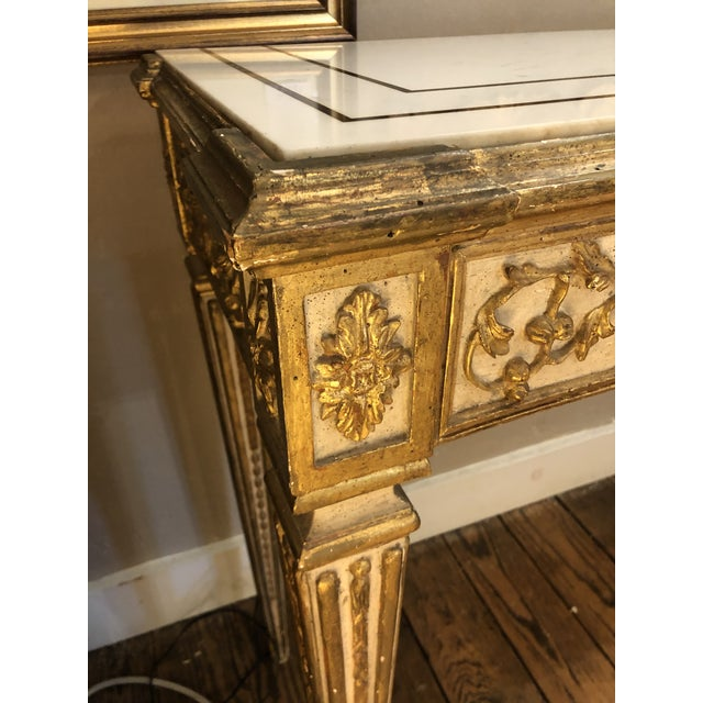 Antique Gilded Painted Italian Regency Console Table With Marble Top For Sale In Philadelphia - Image 6 of 11