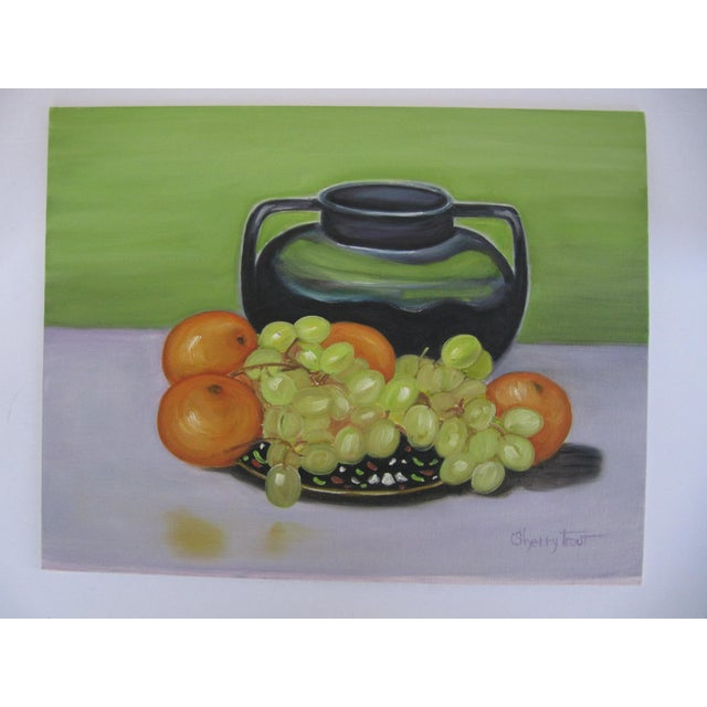Mid-Century Modern Vintage Still Life Painting of Fruit For Sale - Image 3 of 4