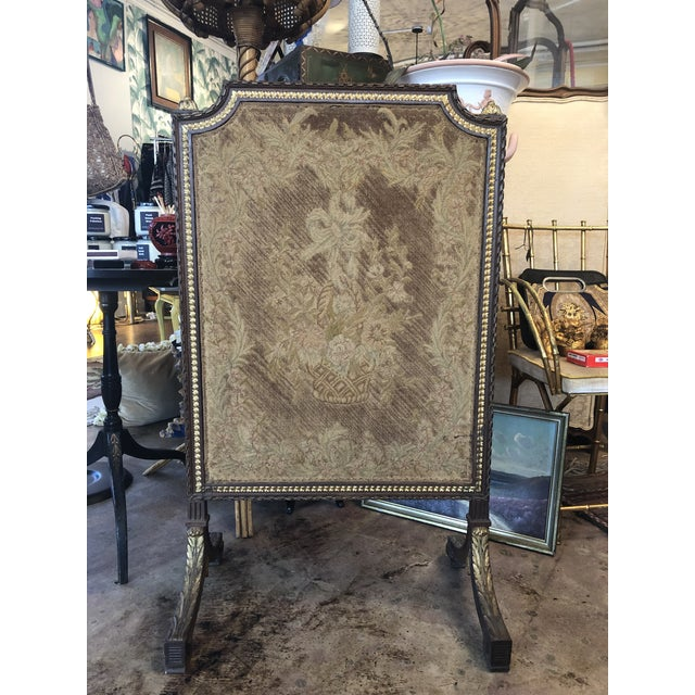 Early 19th Century French Empire Needlepoint Fireplace Screen For Sale - Image 12 of 12