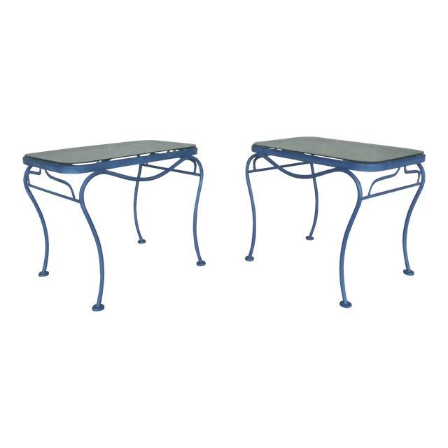 Vintage Woodard Hampton Park Pair Glass Top End Tables Model #1A052903 - Image 1 of 8