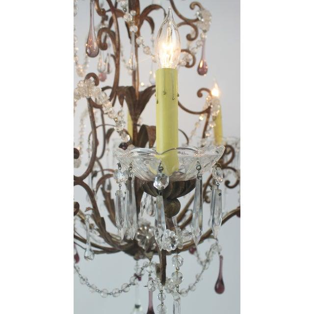 Antique Italian Gold Leaf Crystal Chandelier - Image 10 of 10