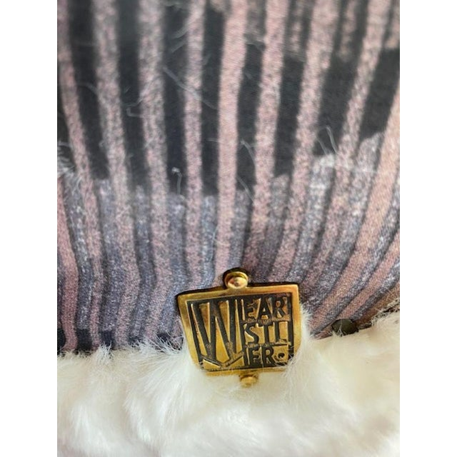 Off White Solid Brass Footstool For Sale - Image 4 of 6
