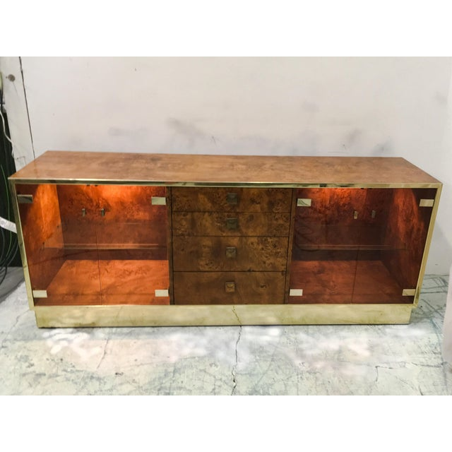 Founders Brass and Burl Credenza For Sale - Image 5 of 6