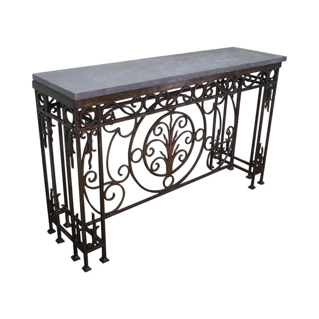 Iron Gothic Style Slate Top Console Table - Image 1 of 10