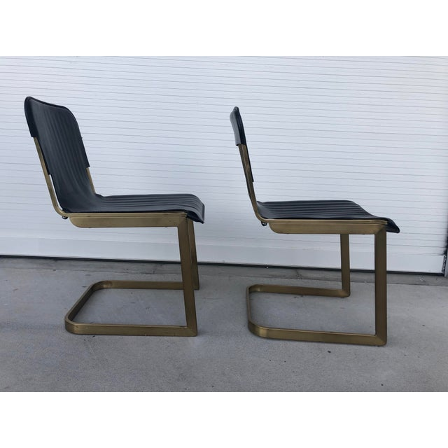 2010s Modern Rake Brass Chairs- A Pair For Sale - Image 5 of 6