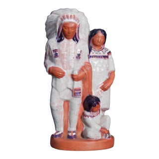 Circa 1930 Indian Chief and Family' by Elizabeth Seaver (1899-1970 American) Ceramic Sculpture For Sale