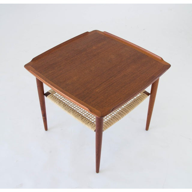 Selig Poul Jensen for Selig Square Side Table With Cane Shelf For Sale - Image 4 of 8
