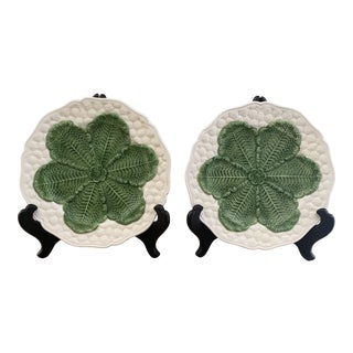 Italian 1980s Green and White Ceramic Cabbage Plates- a Pair For Sale