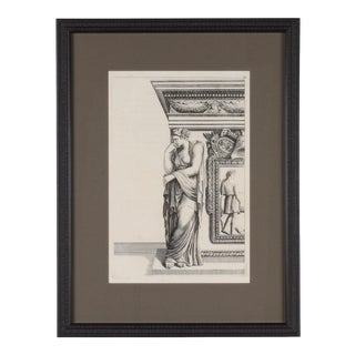 19th C. Framed Antique Architectural Etching of Caryatid For Sale
