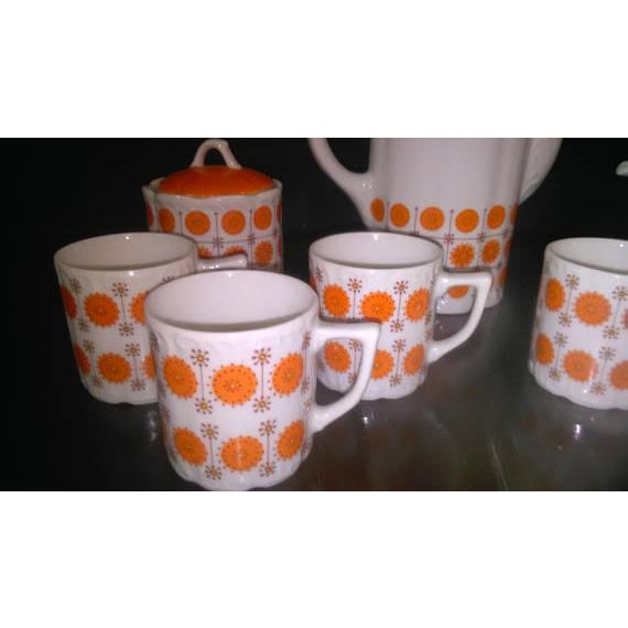 Vintage Mid-Century Japanese White & Orange Porcelain Tea Set - 9 Pc. - Image 2 of 8