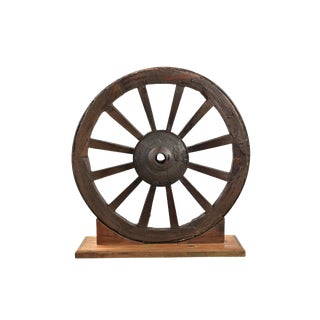 Wooden Decorative Wheel With Stand