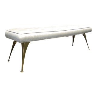 Jonathan Adler Mid-Century Modern Style Bench with Brass Legs