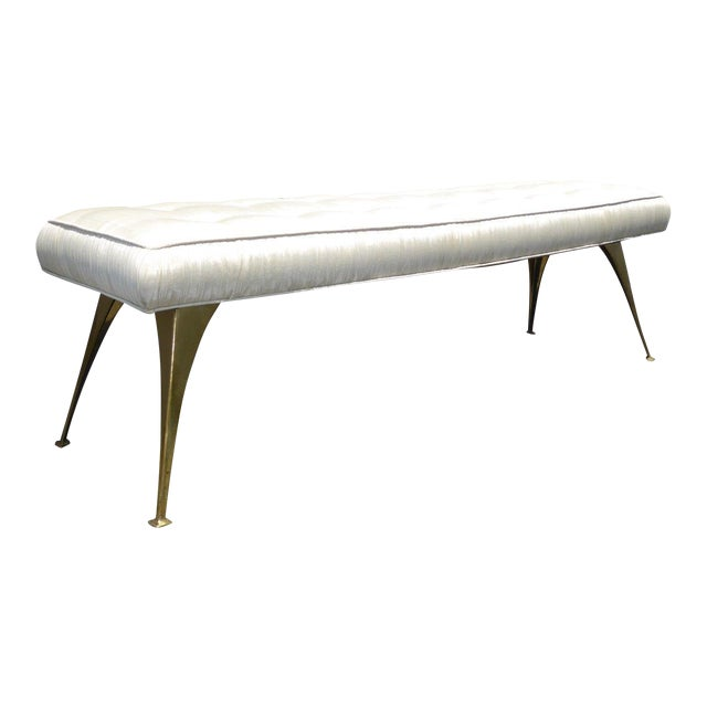 Jonathan Adler Style Mid-Century Modern Bench With Brass Legs - Image 1 of 11