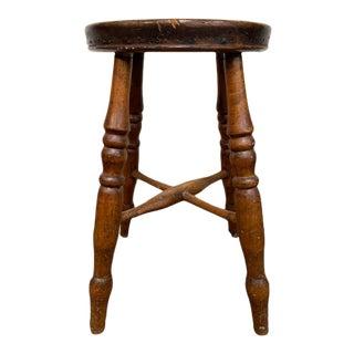 1880s Vintage English 4-Legged Milking Stool For Sale