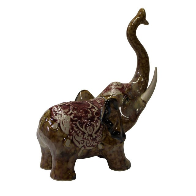 Brown Ceramic Elephant Figure For Sale - Image 5 of 6