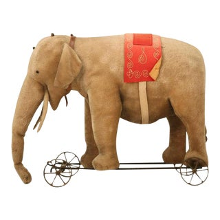 Early 20th Century Steiff Mohair Elephant Pull Toy