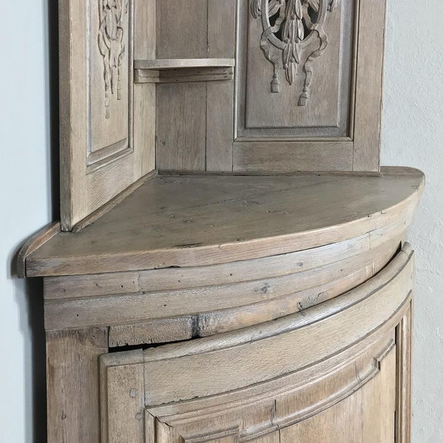 Brown Pair 19th Century Country French Stripped Oak Corner Cabinets For Sale - Image 8 of 13
