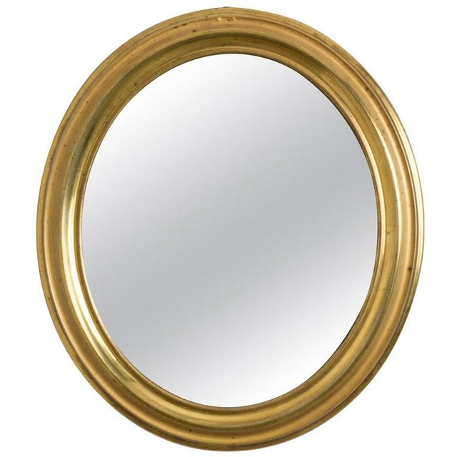 Late 19th Century Antique Napoleon III Brass Oval Mirror For Sale - Image 5 of 5