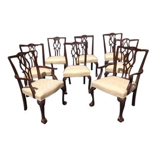 Chippendale Mahogany Kindel Dining Chairs - Set of 8