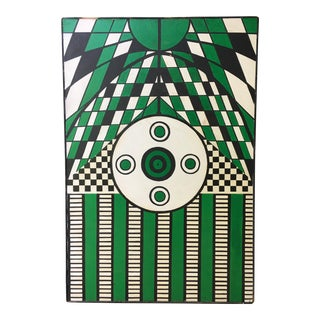 Mid Century Abstract Painting Geometric Patterns in Green For Sale