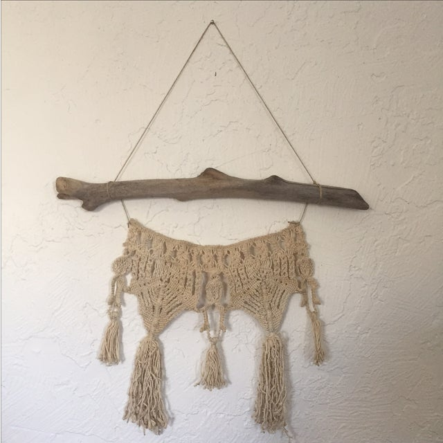 Vintage Macrame Wall Hanging on Driftwood - Image 5 of 5
