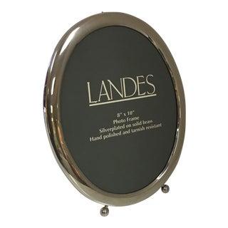 Vintage 'Landes' Silver Plate Oval Picture Frame For Sale