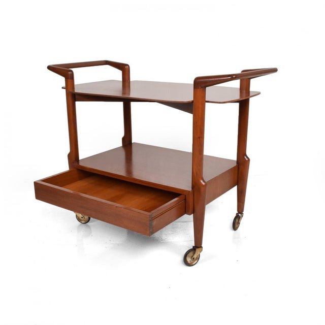 Mid-Century Mexican Modern Mahogany Service Cart For Sale - Image 10 of 10